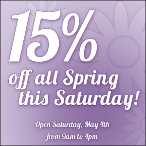 15% off Spring - May 4th